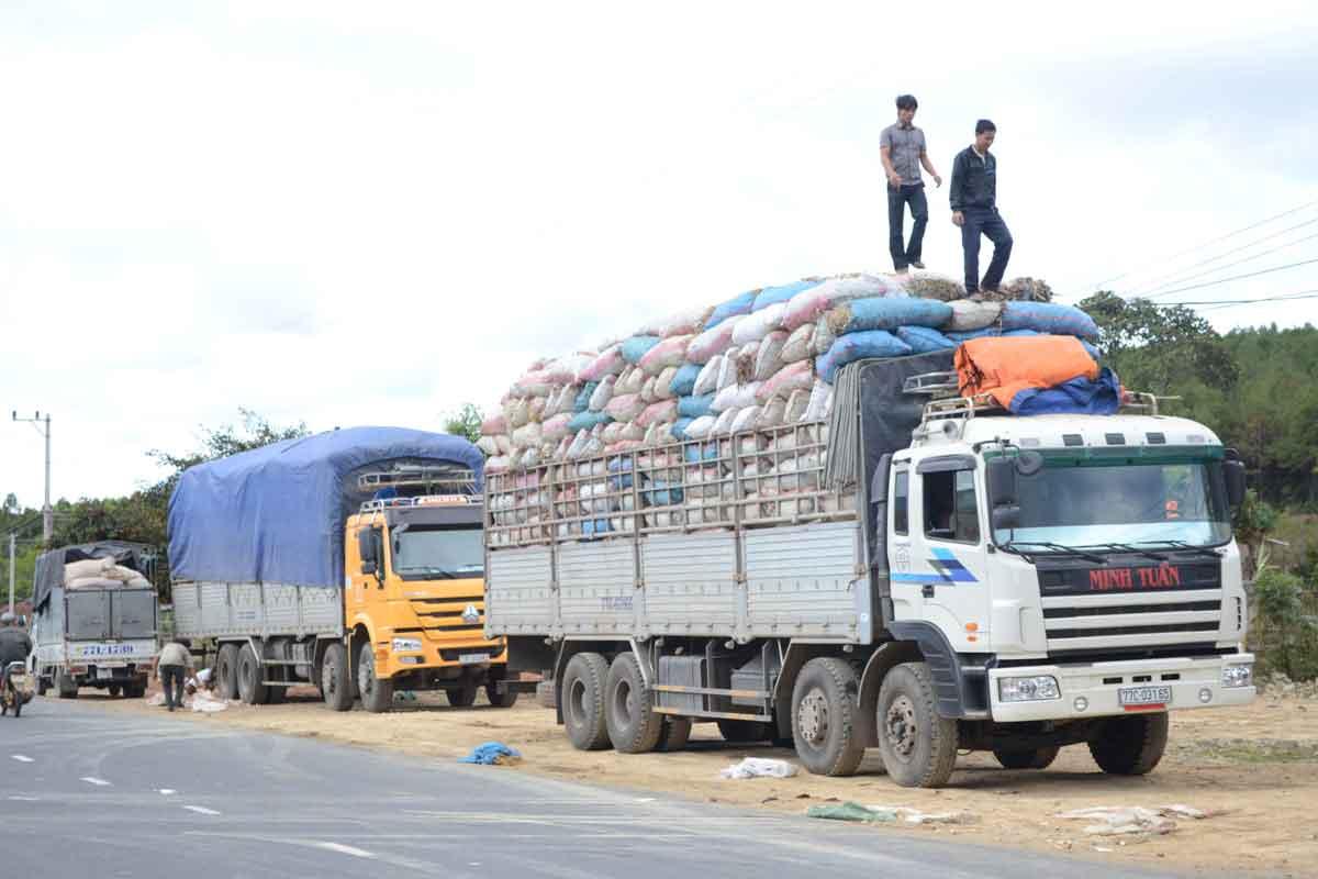 xe tải chở hàng nong sản